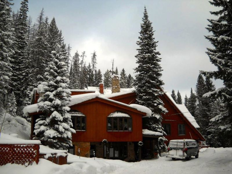 Timber house ski lodge winter park skiing