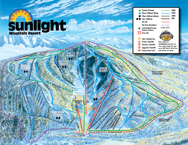 Sunlight Mountain Trail Map