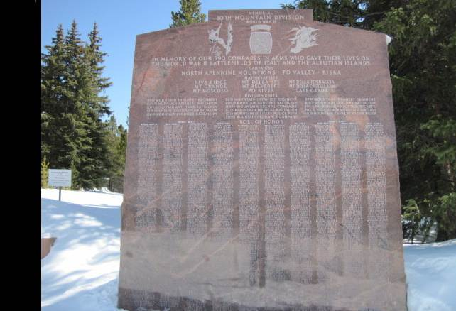10th mountain division memorial