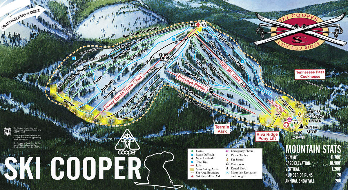 ski cooper trail map